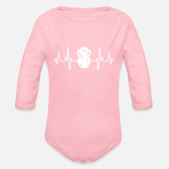 Love Baby Clothes - Heartbeat Kettlebell Gym Fitness Workout Training - Organic Long-Sleeved Baby Bodysuit light pink