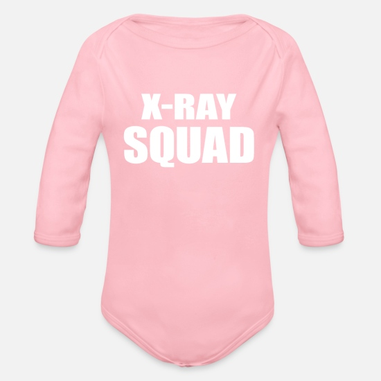 Radiography Baby Clothes - Radiology Tech XRay Squad - Organic Long-Sleeved Baby Bodysuit light pink
