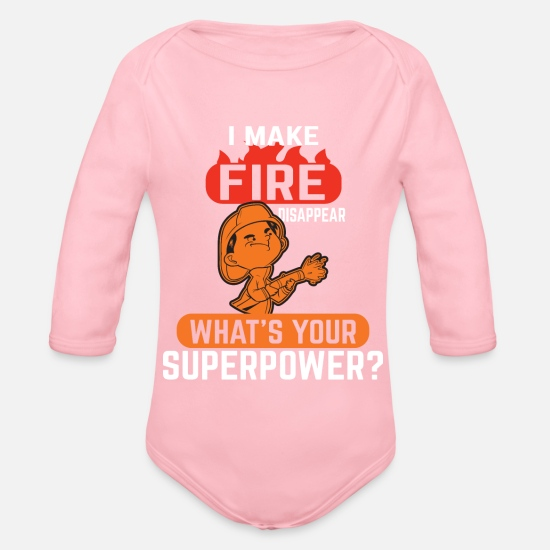 Volunteer Baby Clothes - fire Department - Organic Long-Sleeved Baby Bodysuit light pink