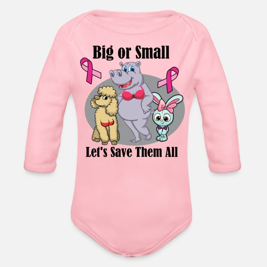 Cancer Baby Clothes - Funny Breast Cancer Awareness Art For Women Light - Organic Long-Sleeved Baby Bodysuit light pink