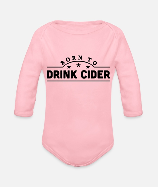 Fermented Baby Bodysuits - born to drink cider banner - Organic Long-Sleeved Baby Bodysuit light pink