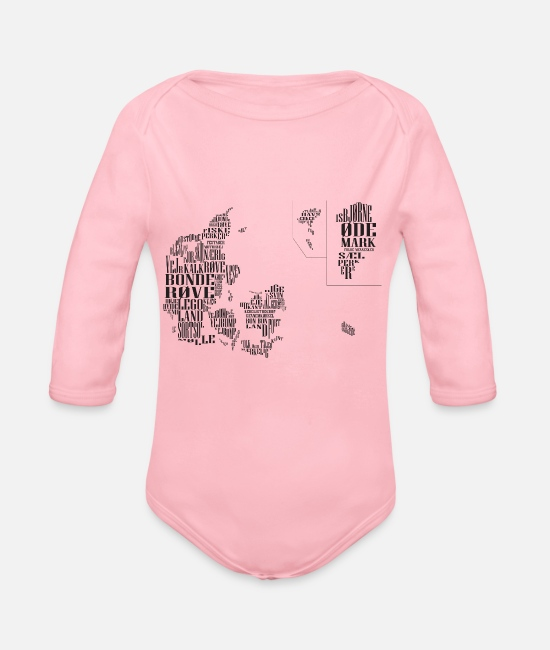 Map Baby Clothes - Denmark map of prejudice - Organic Long-Sleeved Baby Bodysuit light pink
