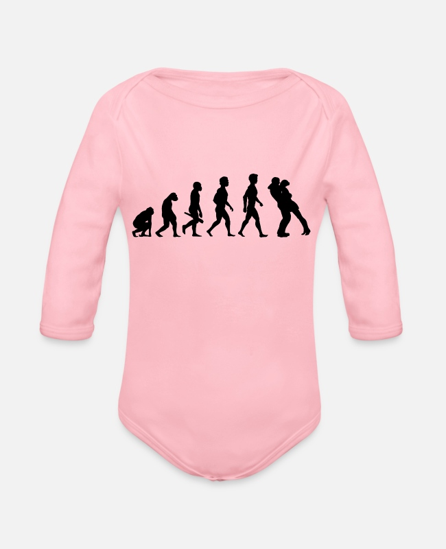Engagement Baby Bodysuits - couple kiss love relationship engagement wedding4 - Organic Long-Sleeved Baby Bodysuit light pink