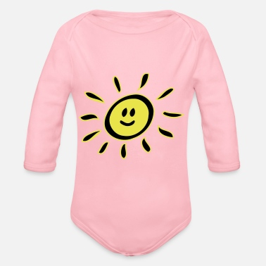 Smiley sun - Organic Long-Sleeved Baby Bodysuit