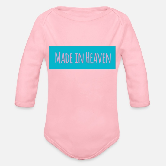 Birthday Baby Clothes - Made in Heaven - Organic Long-Sleeved Baby Bodysuit light pink