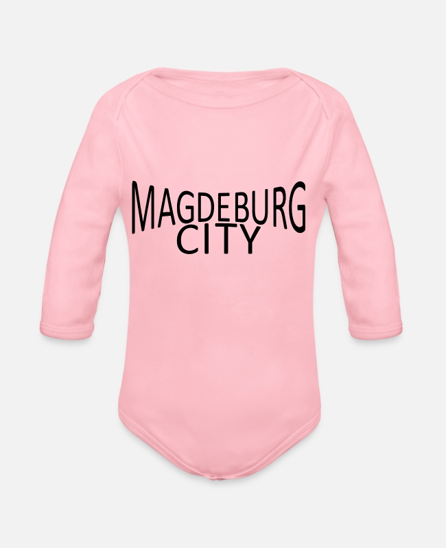 New German States Baby Bodysuits - Magdeburg - Organic Long-Sleeved Baby Bodysuit light pink