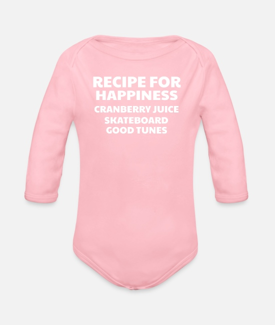 Happy Baby Bodysuits - Cranberry Vibes & Tunes Recipe for Happiness - Organic Long-Sleeved Baby Bodysuit light pink