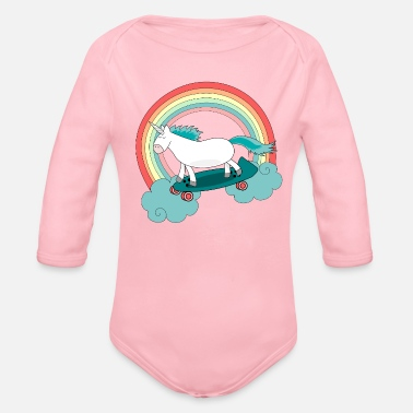 Skateboard Unicorn with skateboard - Body bébé bio manches longues