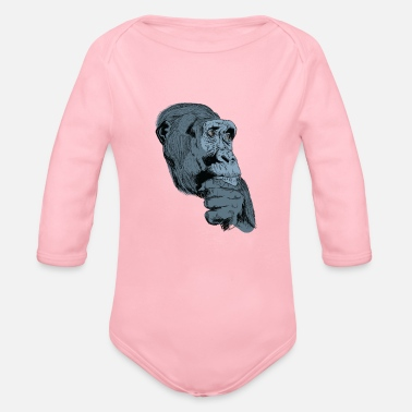 Charade Gorilla monkey t-shirt for gorilla fans and kids - Organic Long-Sleeved Baby Bodysuit