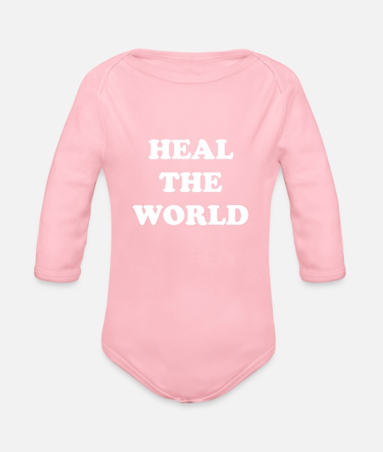 Co2 Baby Bodysuits - HEAL the world - Organic Long-Sleeved Baby Bodysuit light pink