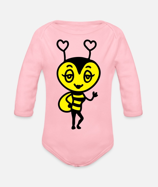 Wave Baby Bodysuits - Sexy Bee - Organic Long-Sleeved Baby Bodysuit light pink