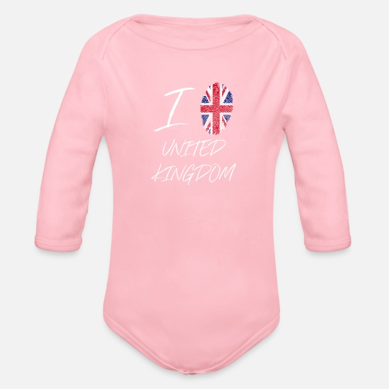 Love Baby Clothes - I love United Kingdom - Organic Long-Sleeved Baby Bodysuit light pink