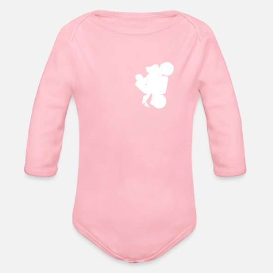 Motorcycle Baby Clothes - Motorcycle Motocycle Wheeli! - Organic Long-Sleeved Baby Bodysuit light pink