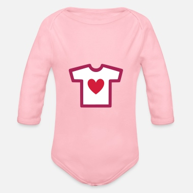 Shape Underwear ★ Design colors changeable ★ T-shirt with heart - Organic Long-Sleeved Baby Bodysuit