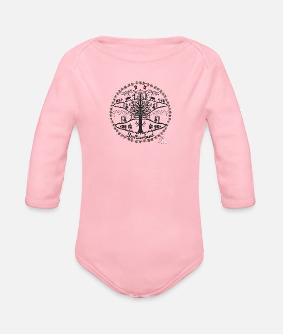 Alps Baby Clothes - Dancing Switzerland - Organic Long-Sleeved Baby Bodysuit light pink