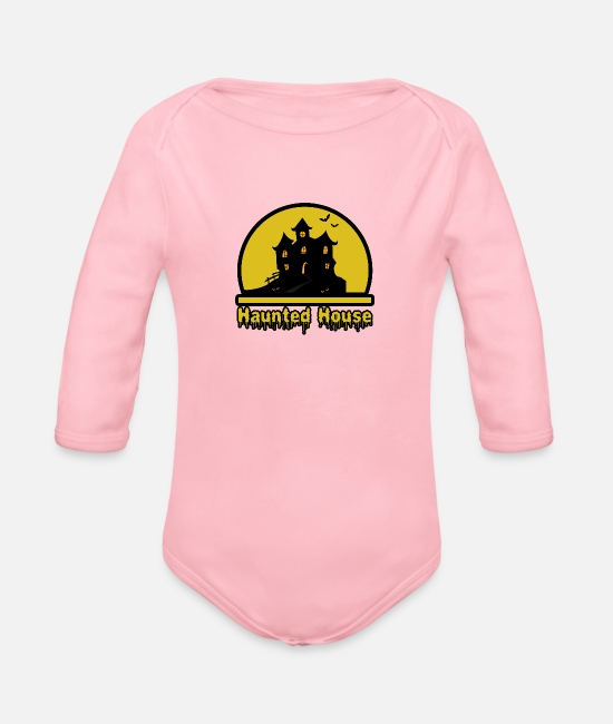 Haunt Baby Clothes - Haunted House - Organic Long-Sleeved Baby Bodysuit light pink