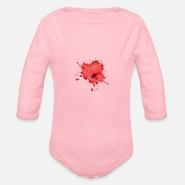 Blood Blood Spatter, Horror, Splatter, Halloween - Organic Long-Sleeved Baby Bodysuit