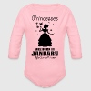 Princesses Are Born In January - Organic Longsleeve Baby Bodysuit