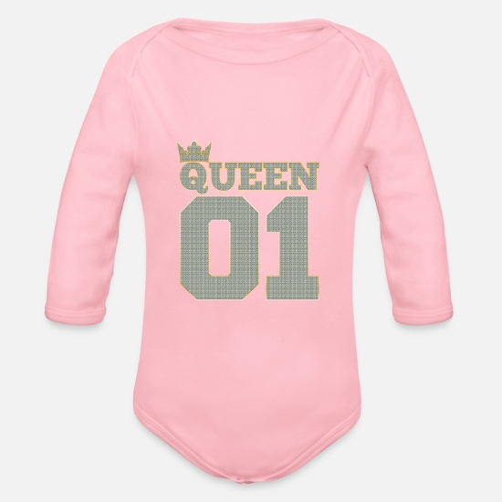 01 Babykleidung - 01 QUEEN crown in Bling Bling, Rich diamonds style - Baby Bio Langarmbody Hellrosa