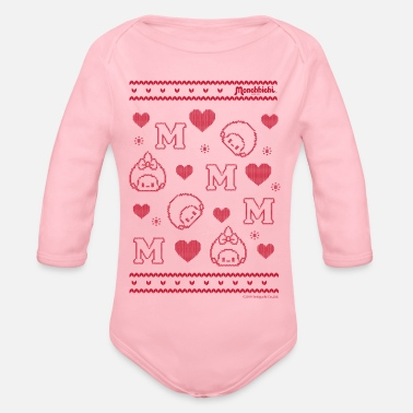 Monchhichi with heart Ugly Christmas - Organic Long-Sleeved Baby Bodysuit