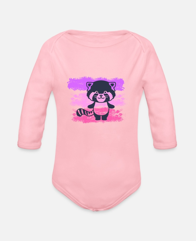 Animal Welfare Baby Bodysuits - Raccoon for animal lovers and animal welfare - Organic Long-Sleeved Baby Bodysuit light pink