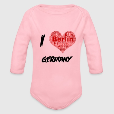 I Love Germany City Wordart - Baby Bio-Langarm-Body