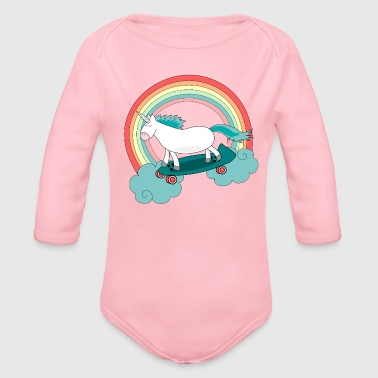 Unicorn with skateboard - Body bébé bio manches longues