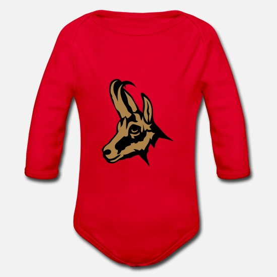 Forest Animal Baby Clothes - chamois wild animal 110 - Organic Long-Sleeved Baby Bodysuit red