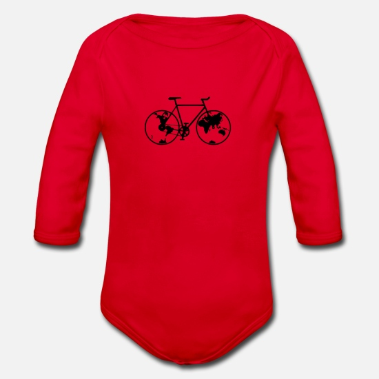 Bike Messenger Baby Clothes - Planet bike, bike, bike, BMX, mountain bike - Organic Long-Sleeved Baby Bodysuit red
