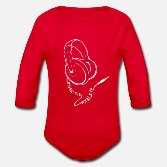 music Baby Clothes - Music, Hip Hop, RnB, Rock, Gift, Gift Idea - Organic Long-Sleeved Baby Bodysuit red