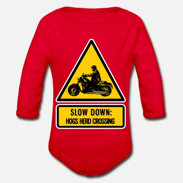 Hog slow down: hogs herd crossing - Organic Long-Sleeved Baby Bodysuit