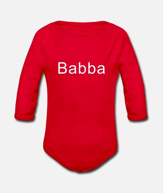 Description Baby Clothes - Babba a nickname for your dad - Organic Long-Sleeved Baby Bodysuit red