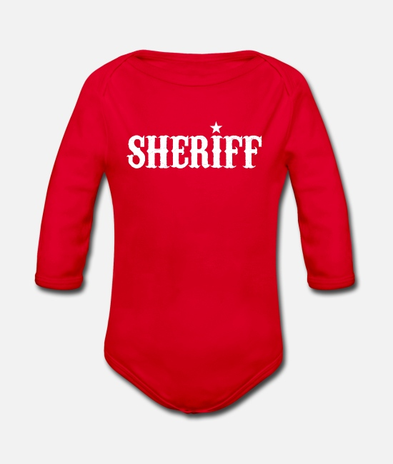 Boss Baby Bodysuits - sheriff - Organic Long-Sleeved Baby Bodysuit red