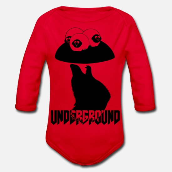Love Baby Clothes - underground blak - Organic Long-Sleeved Baby Bodysuit red