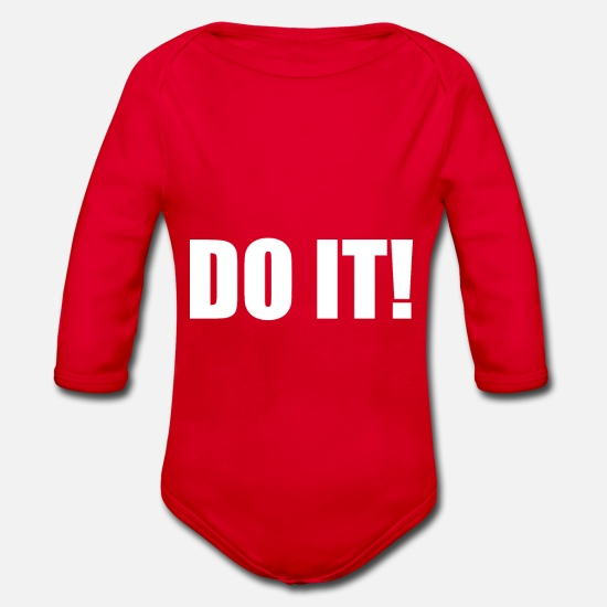 Wealth Baby Clothes - Do it - Organic Long-Sleeved Baby Bodysuit red