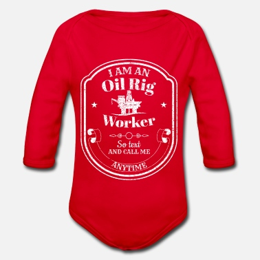 Oil Drilling platform - oil rig - oil rig worker - Organic Long-Sleeved Baby Bodysuit
