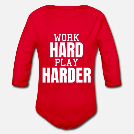 Gift Idea Baby Clothes - 'work hard play harder' wisdom saying - Organic Long-Sleeved Baby Bodysuit red