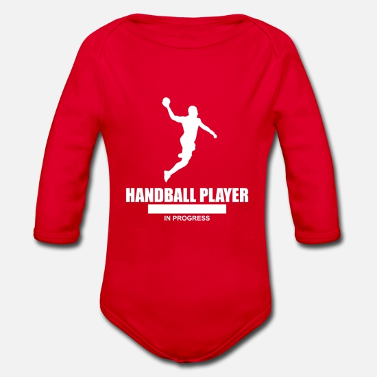 Birthday Baby Clothes - Handball player in progress - Organic Long-Sleeved Baby Bodysuit red