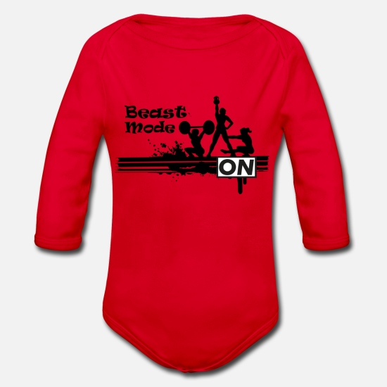 Beast Mode Baby Clothes - Beast mode on - Organic Long-Sleeved Baby Bodysuit red
