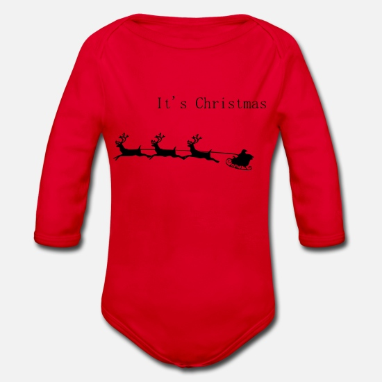 Love Baby Clothes - It's Christmas - Organic Long-Sleeved Baby Bodysuit red