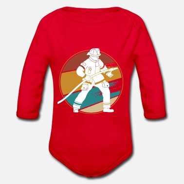Fire Firefighters Circle Colorful - Organic Long-Sleeved Baby Bodysuit