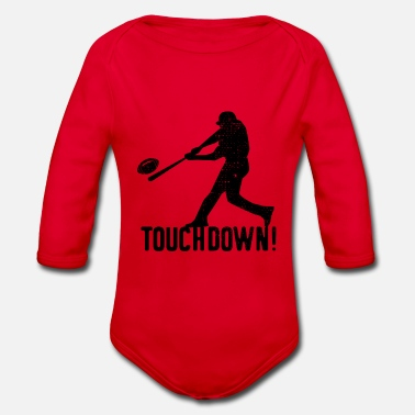 Ball Baseball Touchdown Funny Humor - Organic Long-Sleeved Baby Bodysuit