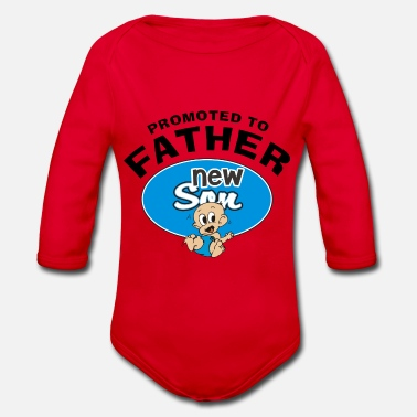 New Father Promoted To Father New Son - Organic Long-Sleeved Baby Bodysuit