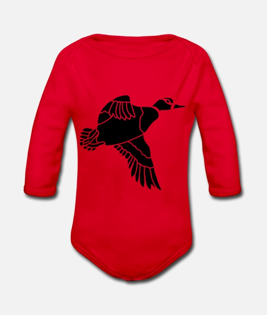 Hunting Baby Clothes - duck_shape - Organic Long-Sleeved Baby Bodysuit red