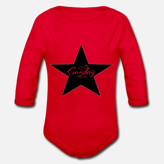 Days Of The Week Baby Clothes - Sunday, finally Sunday - Organic Long-Sleeved Baby Bodysuit red