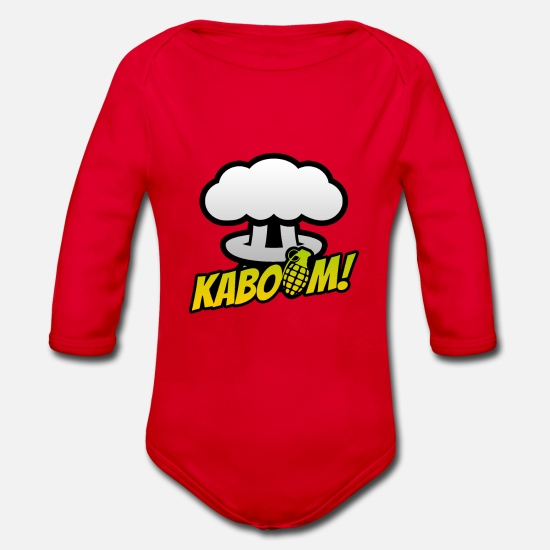 Speech Balloon Baby Clothes - comic - Organic Long-Sleeved Baby Bodysuit red