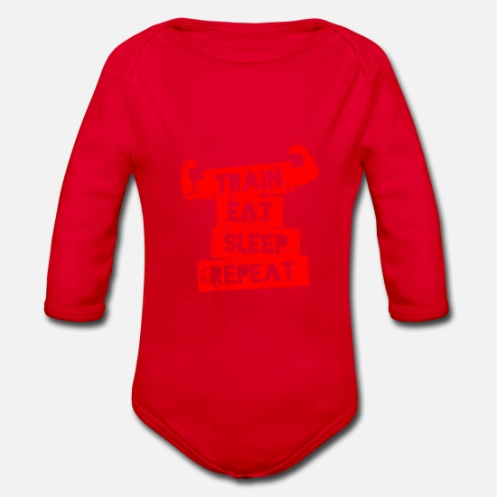 Fitness Baby Clothes - funny fitness tshirt cool fitness gift - Organic Long-Sleeved Baby Bodysuit red