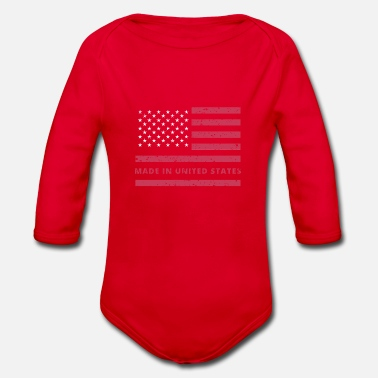 USA Flag / Made in United States - Organic Long-Sleeved Baby Bodysuit