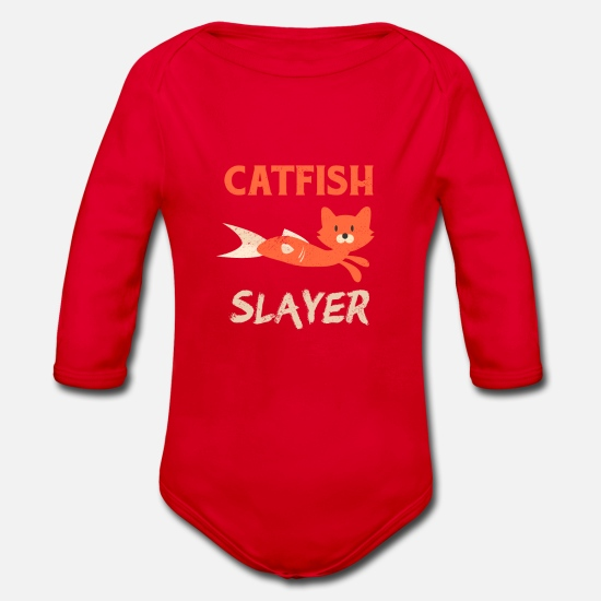 Bait Baby Clothes - Catfish Fishing Cat Head Fish Body Fisherman - Organic Long-Sleeved Baby Bodysuit red