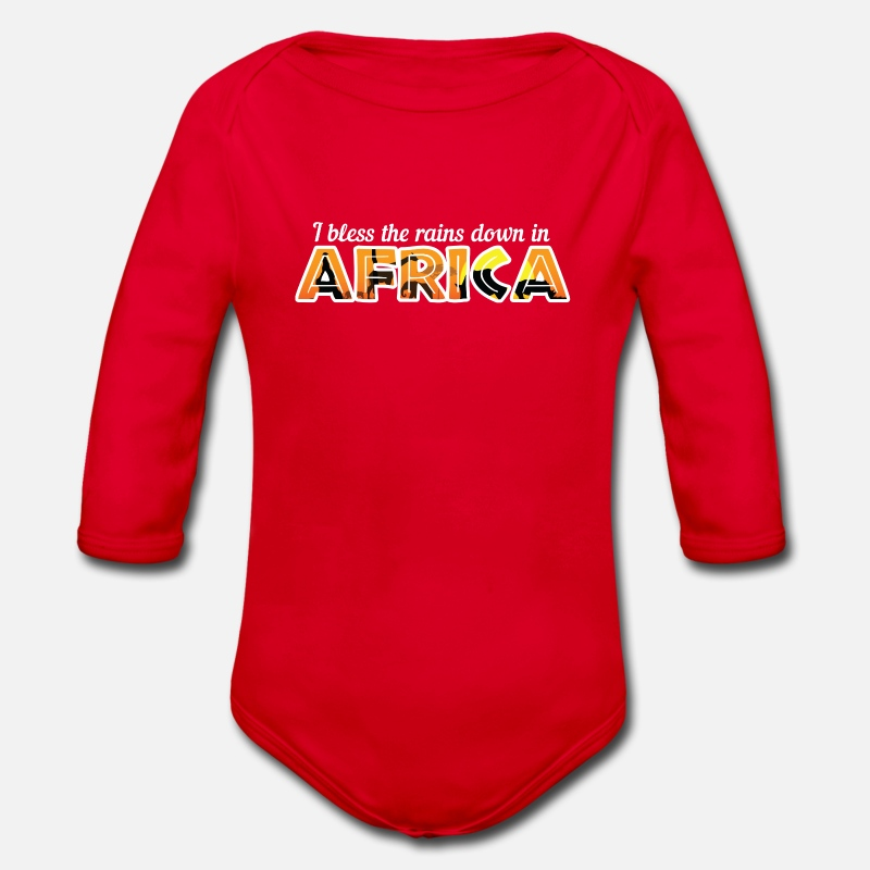 Birthday Baby Clothes - Africa - Organic Long-Sleeved Baby Bodysuit red